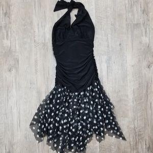 "S ""Studio Y"" Black n White Polka Dot Party Dress"